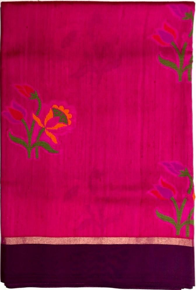 Tussar Cora Pure Silk Saree