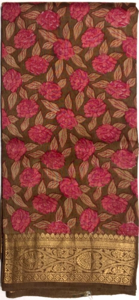 Printed Tussar Silk Saree